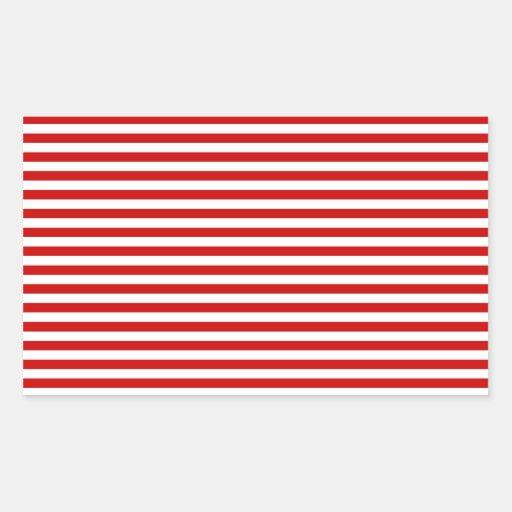 Rayas - blanco y rojo de los BU Pegatina Rectangular