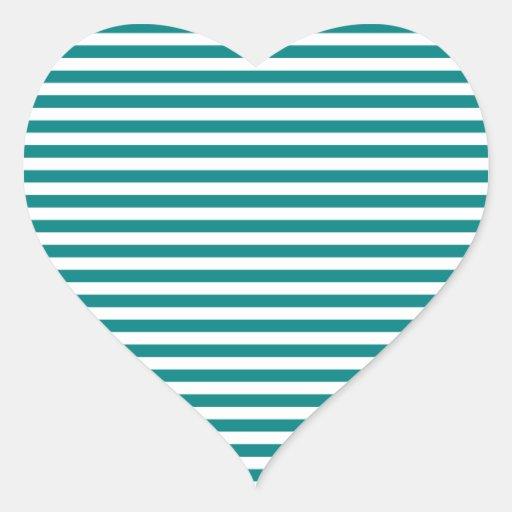 Rayas - blanco y trullo pegatina en forma de corazón