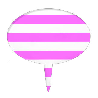 Rayas - blanco y ultra rosa figuras para tartas