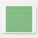 Rayas - blanco y verde tapetes de ratón