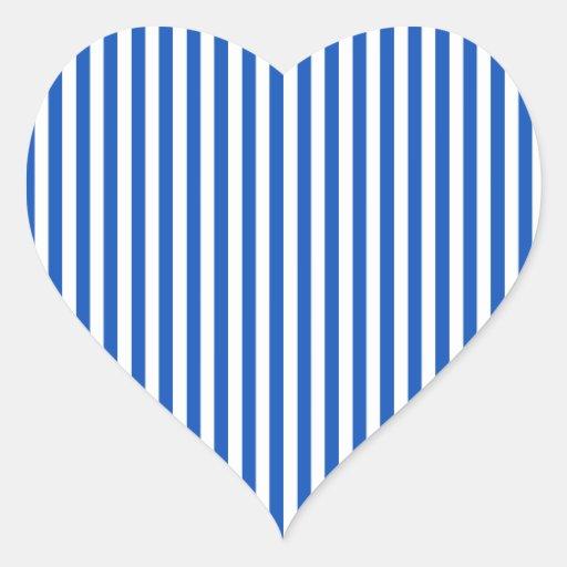 Rayas - blanco y zafiro calcomanías de corazones