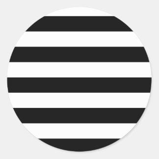 Rayas blancos y negros básicas pegatina redonda