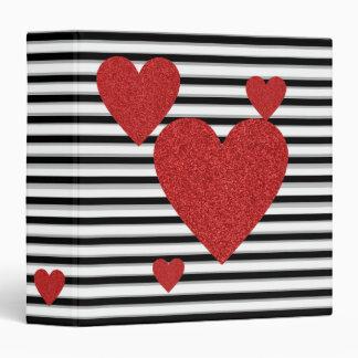 """Rayas blancos y negros con los corazones rojos del carpeta 1 1/2"""""""
