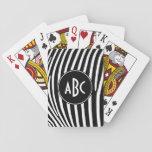 Rayas blancos y negros cones monograma de la cebra baraja de póquer