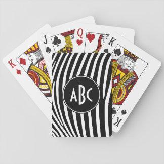 Rayas blancos y negros cones monograma de la cebra cartas de póquer