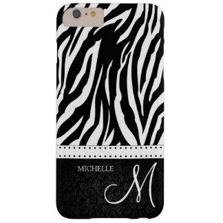 Rayas blancos y negros de la cebra con el funda de iPhone 6 plus barely there