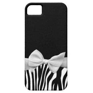 Rayas blancos y negros de la cebra y cinta blanca iPhone 5 coberturas