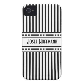 Rayas blancos y negros de la secesión de Viena iPhone 4 Case-Mate Protectores