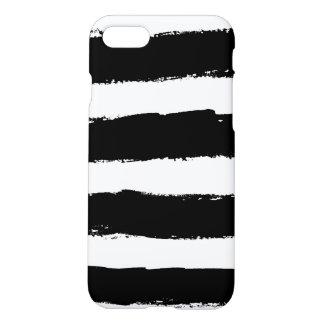 Rayas blancos y negros del Grunge Funda Para iPhone 7