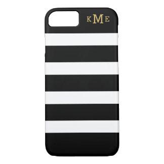 Rayas blancos y negros el   con monograma funda iPhone 7