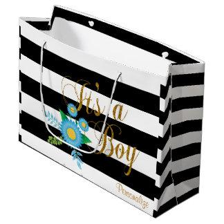 Rayas blancos y negros elegantes con floral azul bolsa de regalo grande