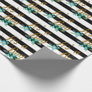 Rayas blancos y negros elegantes con floral azul papel de regalo