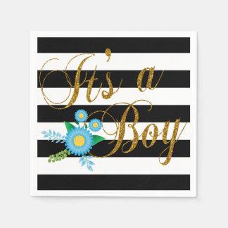 Rayas blancos y negros elegantes con floral azul servilletas desechables
