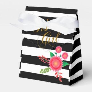 Rayas blancos y negros elegantes con floral rosado caja para regalos de fiestas