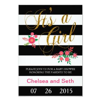"""Rayas blancos y negros elegantes con floral rosado invitación 3.5"""" x 5"""""""