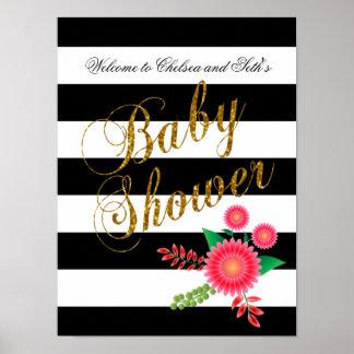 Rayas blancos y negros elegantes con floral rosado póster