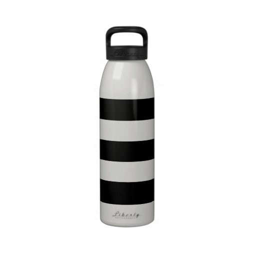 Rayas blancos y negros grandes botella de agua