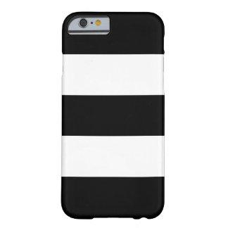 Rayas blancos y negros grandes funda de iPhone 6 barely there