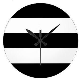 Rayas blancos y negros grandes relojes
