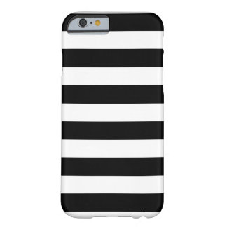 Rayas blancos y negros horizontales funda barely there iPhone 6