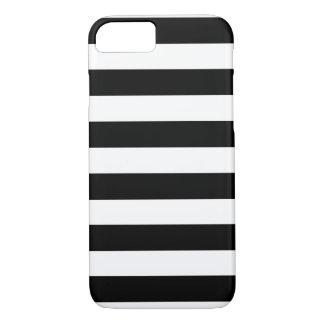 Rayas blancos y negros horizontales funda iPhone 7