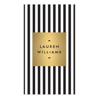 Rayas blancos y negros intrépidas de lujo con la c tarjeta de visita