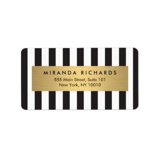 Rayas blancos y negros intrépidas de lujo con la etiquetas de dirección