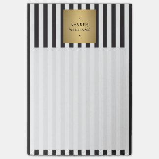 Rayas blancos y negros intrépidas de lujo con la notas post-it