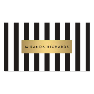 Rayas blancos y negros intrépidas de lujo con la tarjetas de visita