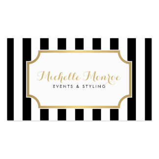 Rayas blancos y negros intrépidas de lujo tarjetas de visita