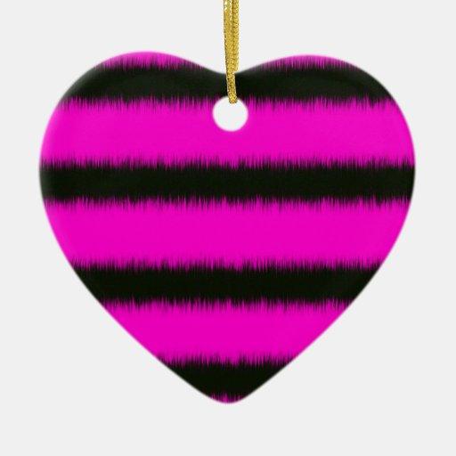Rayas borrosas negras rosadas adorno navideño de cerámica en forma de corazón