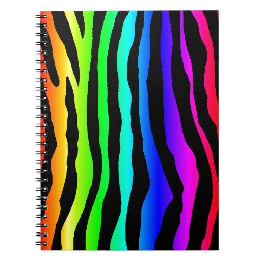 Rayas brillantes de la cebra del arco iris note book