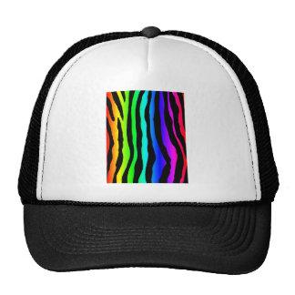 Rayas brillantes de la cebra del arco iris gorros