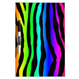 Rayas brillantes de la cebra del arco iris pizarras blancas de calidad