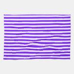 Rayas brillantes del añil, de la violeta, púrpuras toallas de mano