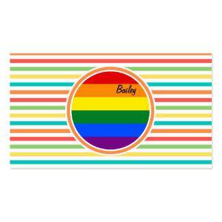 Rayas brillantes del arco iris, bandera de LGBT Plantillas De Tarjetas De Visita