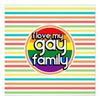 Rayas brillantes del arco iris familia gay comunicado personalizado