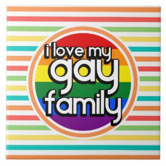 Rayas brillantes del arco iris familia gay azulejos