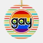 Rayas brillantes del arco iris, gay ornamentos para reyes magos