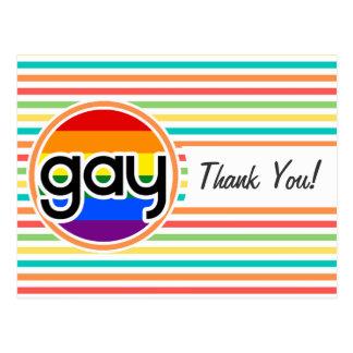 Rayas brillantes del arco iris, gay tarjeta postal