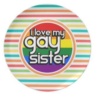 Rayas brillantes del arco iris hermana gay platos de comidas