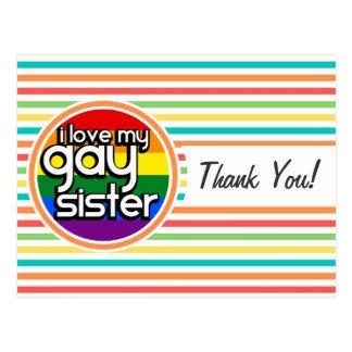 Rayas brillantes del arco iris, hermana gay tarjeta postal