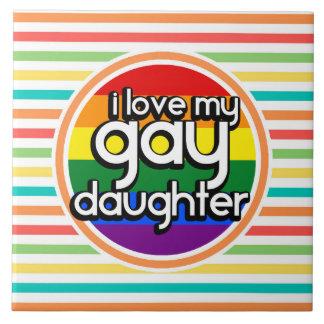 Rayas brillantes del arco iris hija gay tejas  cerámicas