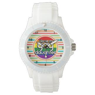 Rayas brillantes del arco iris, hija gay relojes de pulsera