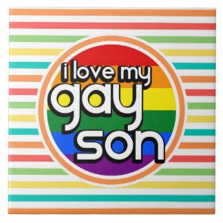 Rayas brillantes del arco iris hijo gay azulejo ceramica
