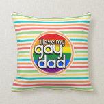 Rayas brillantes del arco iris, papá gay almohada