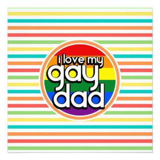 Rayas brillantes del arco iris papá gay invitacion personal