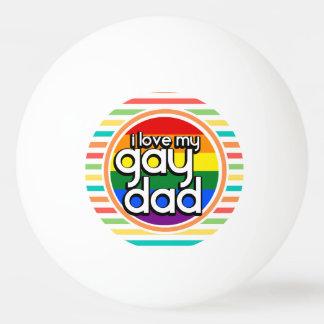 Rayas brillantes del arco iris papá gay pelota de tenis de mesa