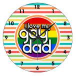 Rayas brillantes del arco iris, papá gay relojes de pared