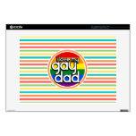 Rayas brillantes del arco iris, papá gay portátil calcomanía
